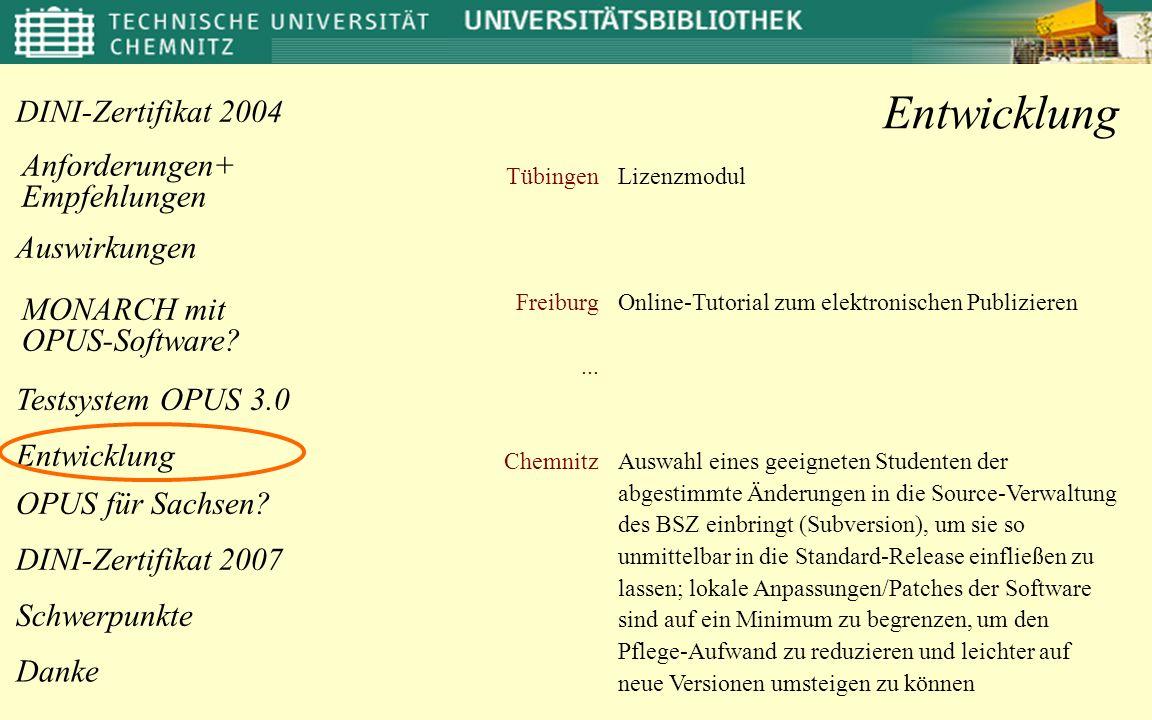 Entwicklung Tübingen Freiburg ... Chemnitz Lizenzmodul