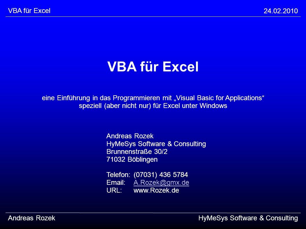 VBA für Excel VBA für Excel 24.02.2010
