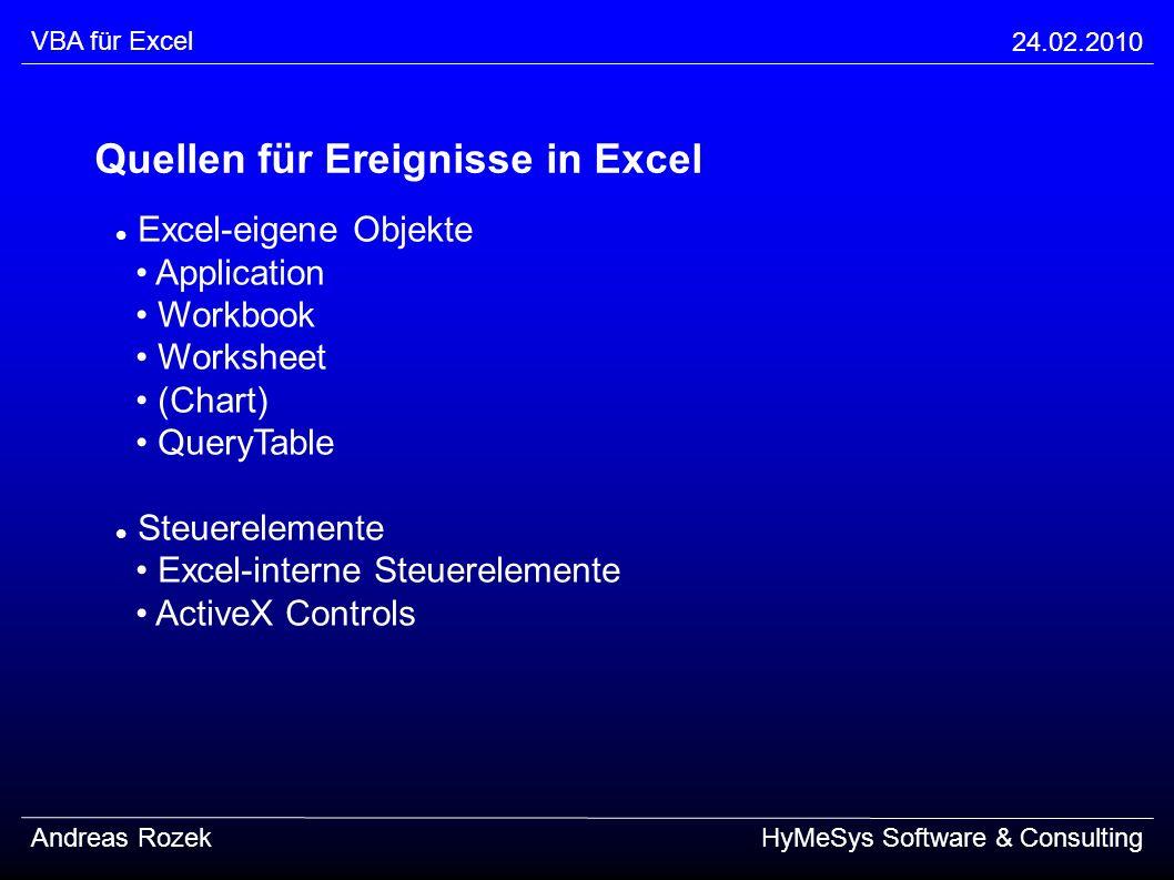 Quellen für Ereignisse in Excel