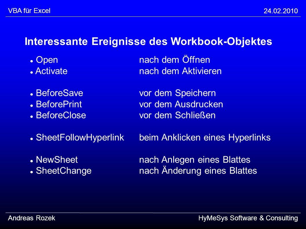 Interessante Ereignisse des Workbook-Objektes