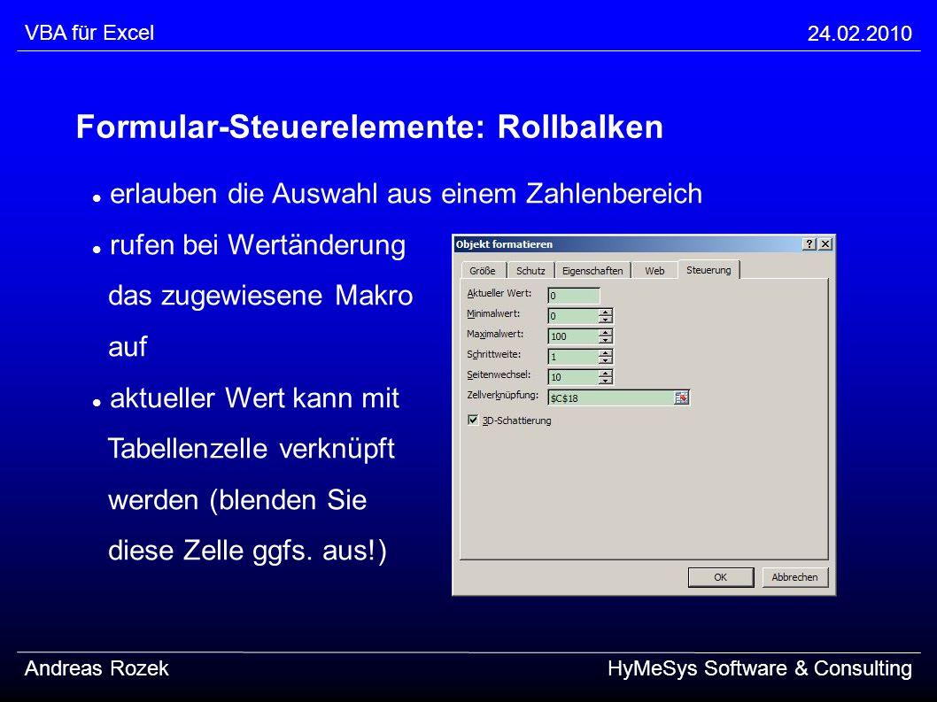 Formular-Steuerelemente: Rollbalken