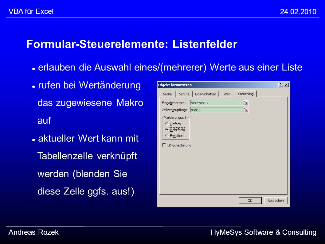 Formular-Steuerelemente: Listenfelder