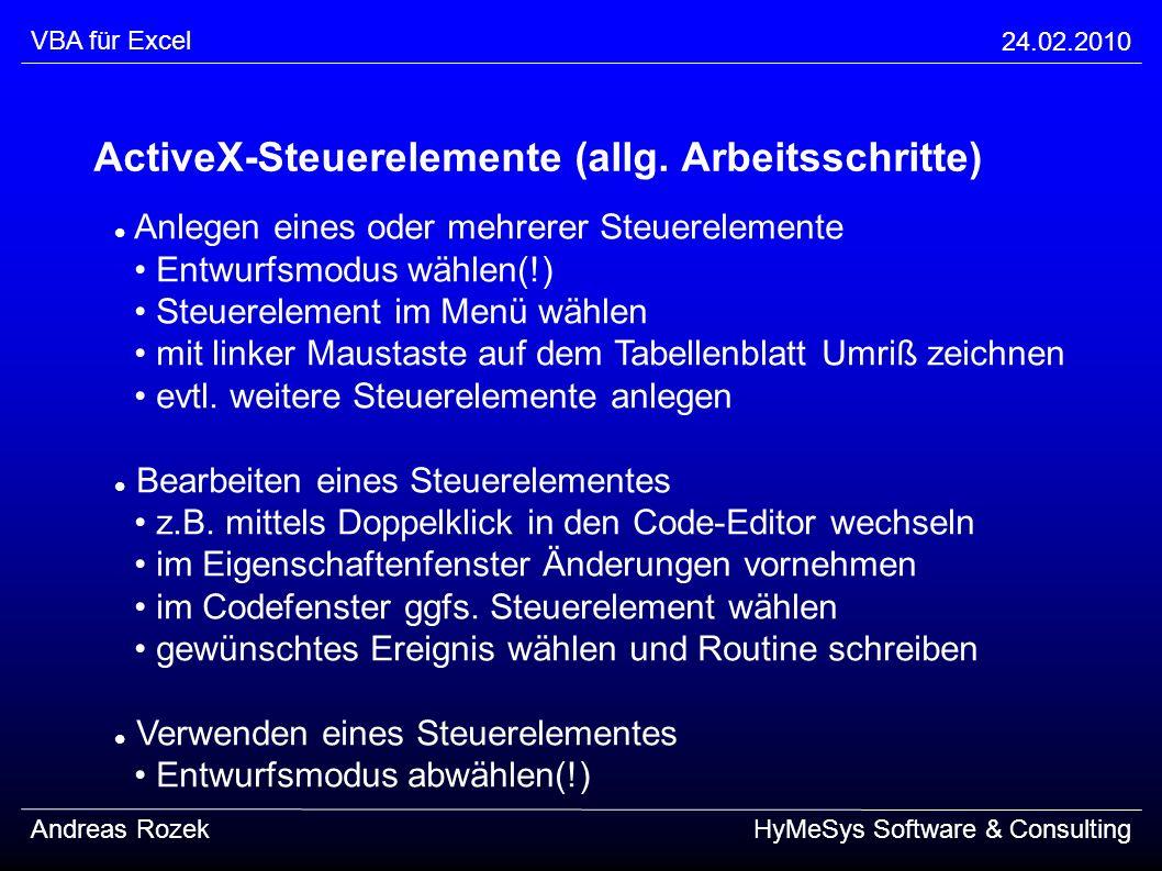 ActiveX-Steuerelemente (allg. Arbeitsschritte)
