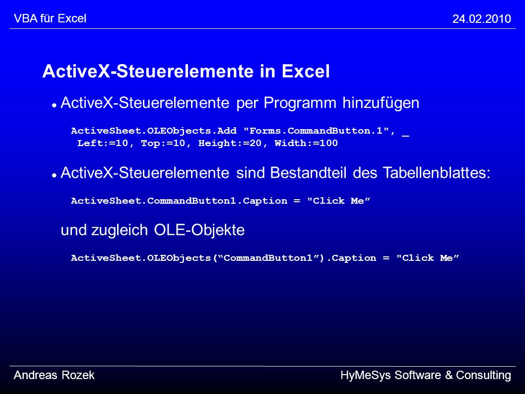 ActiveX-Steuerelemente in Excel