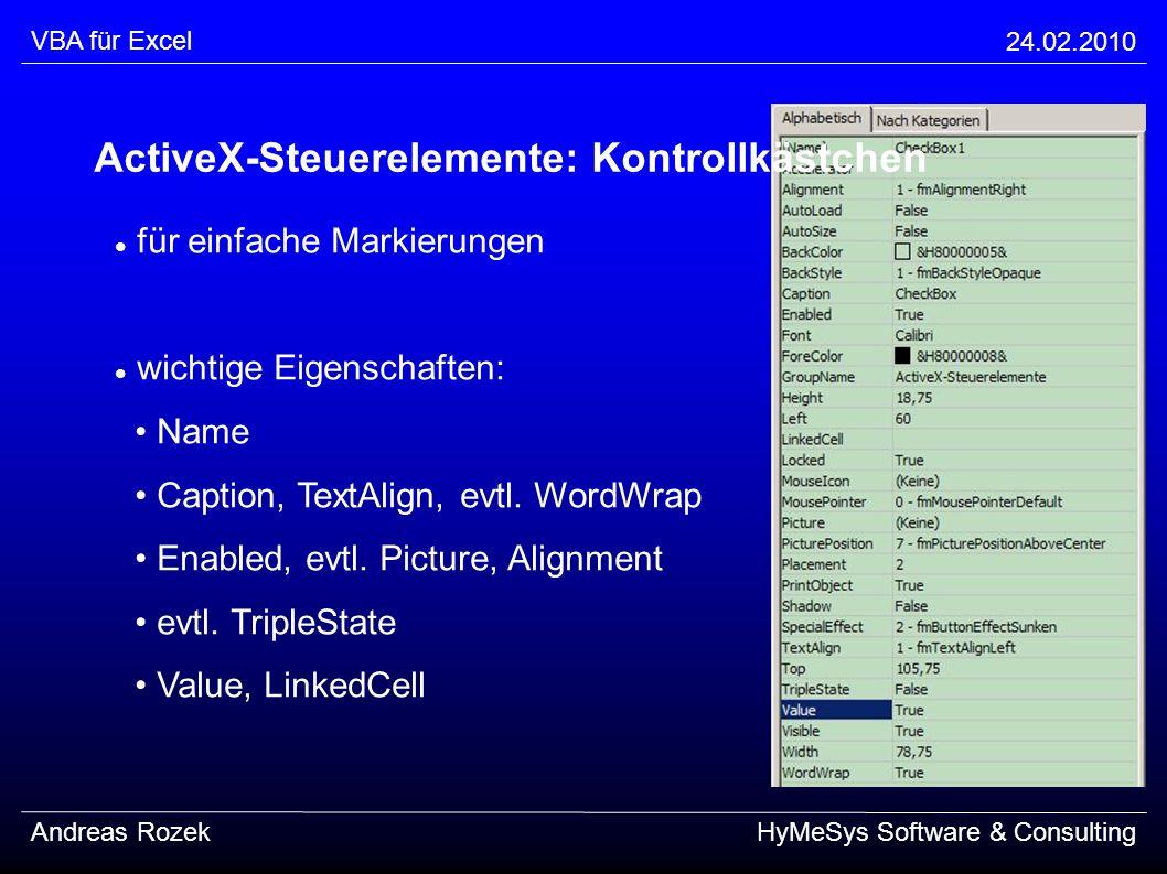 ActiveX-Steuerelemente: Kontrollkästchen