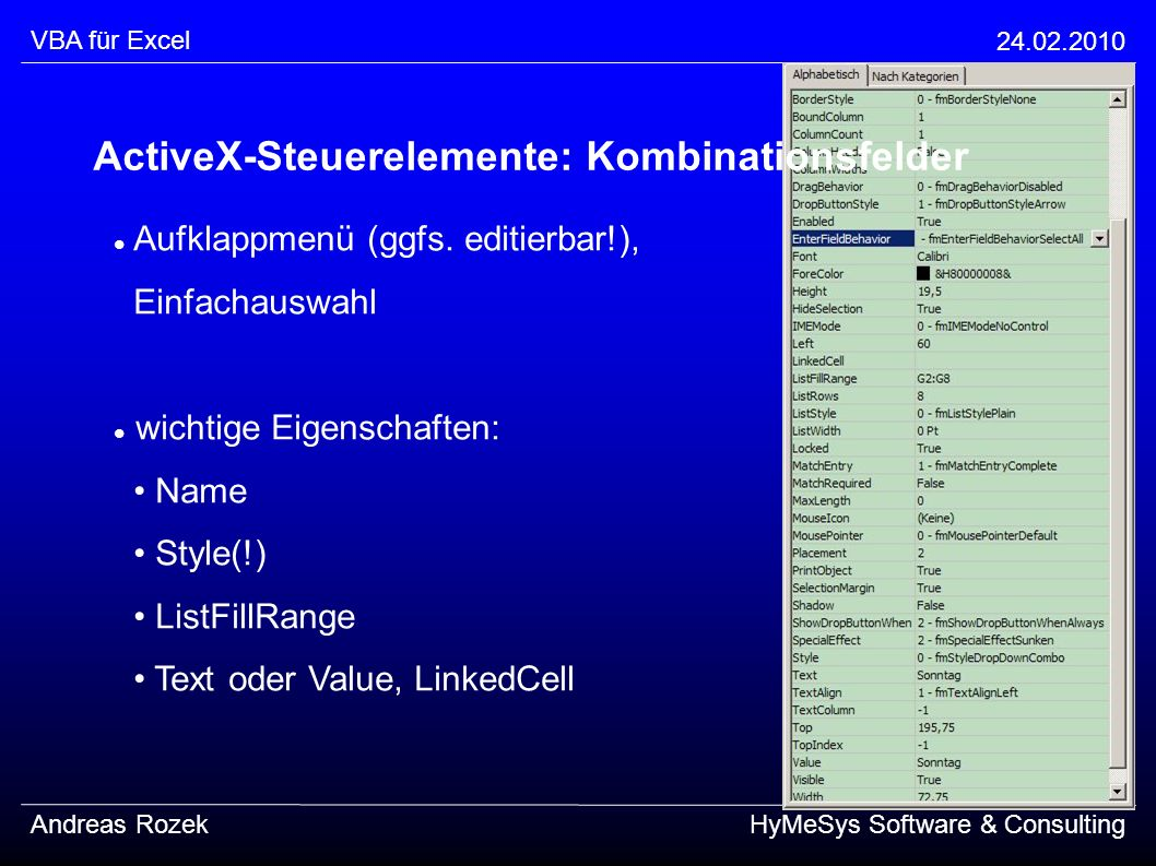 ActiveX-Steuerelemente: Kombinationsfelder