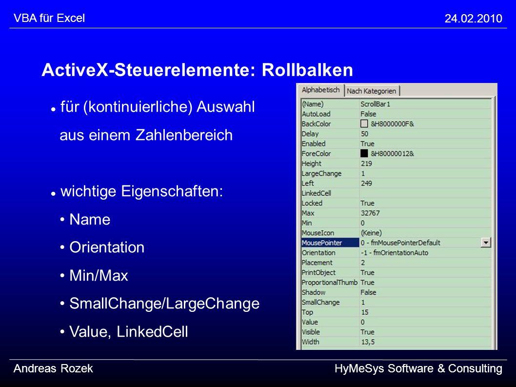 ActiveX-Steuerelemente: Rollbalken