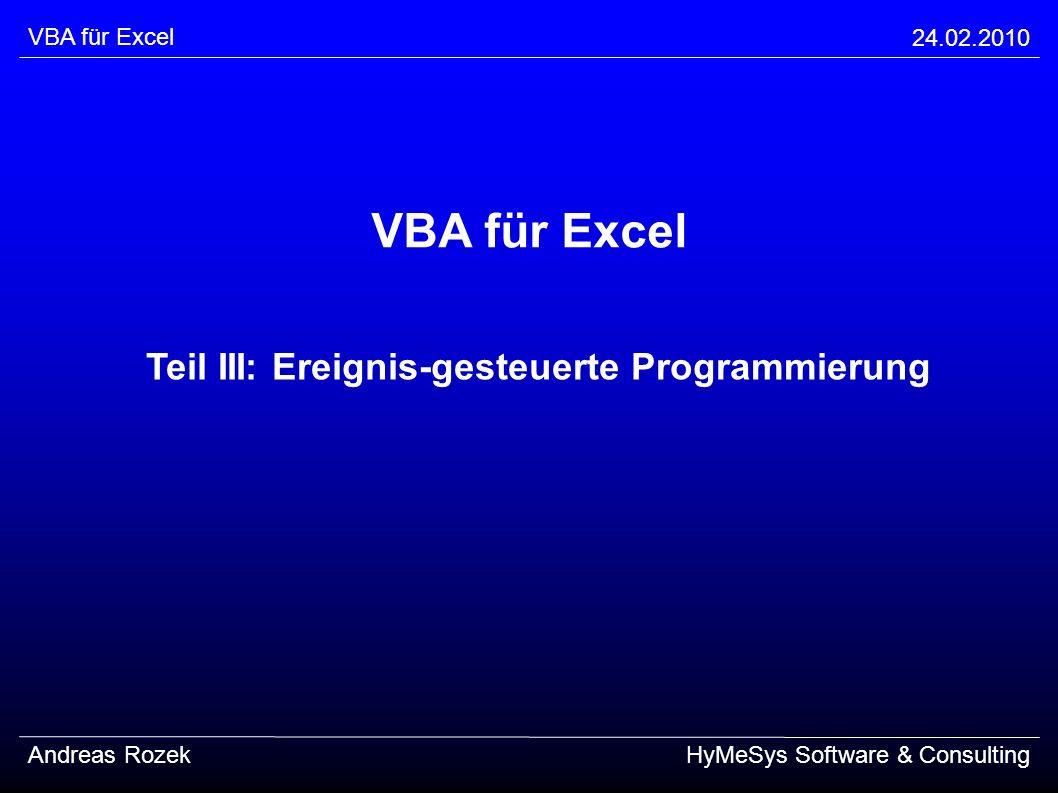 Teil III: Ereignis-gesteuerte Programmierung