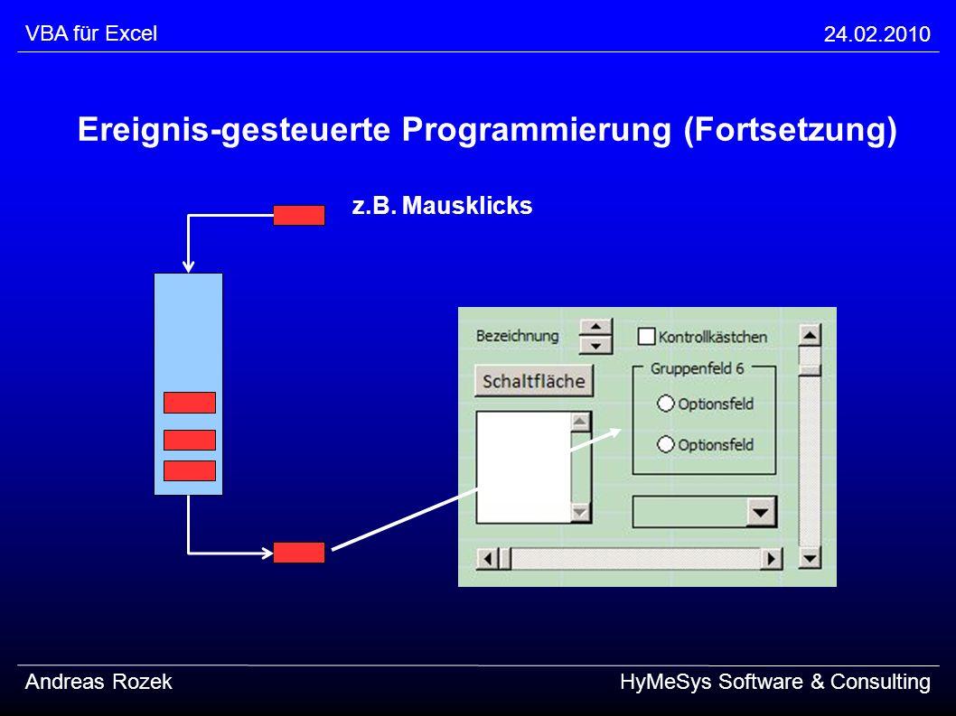 Ereignis-gesteuerte Programmierung (Fortsetzung)
