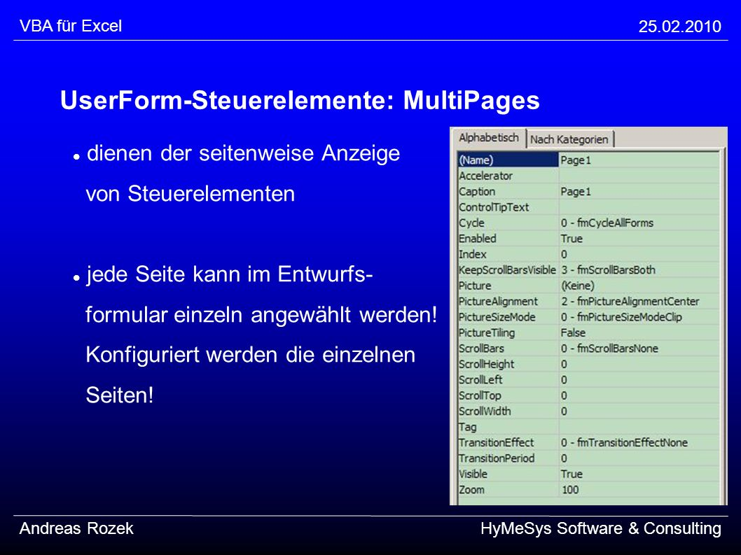 UserForm-Steuerelemente: MultiPages
