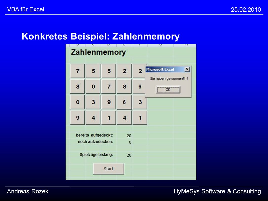 Konkretes Beispiel: Zahlenmemory