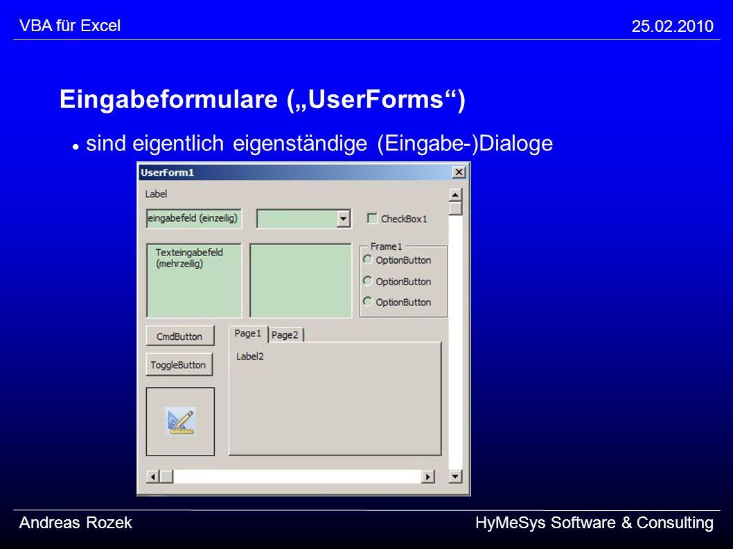 "Eingabeformulare (""UserForms )"