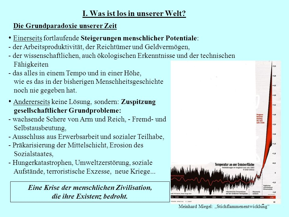 I. Was ist los in unserer Welt