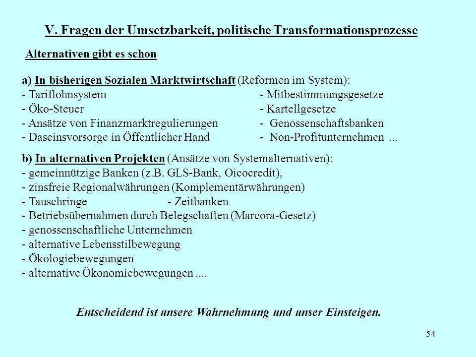 V. Fragen der Umsetzbarkeit, politische Transformationsprozesse