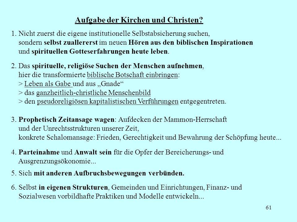 Aufgabe der Kirchen und Christen