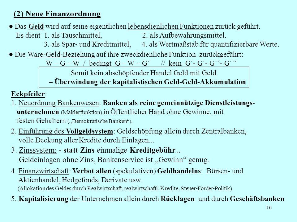 (2) Neue Finanzordnung