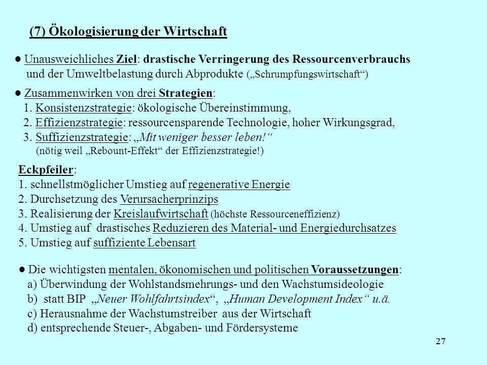 (7) Ökologisierung der Wirtschaft