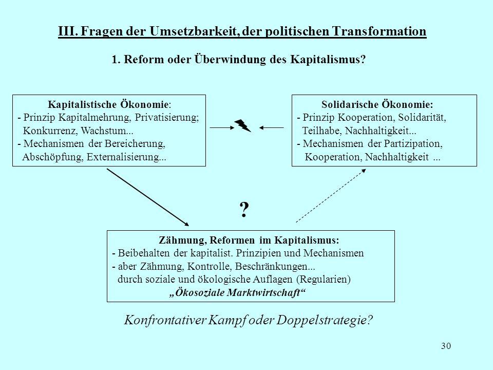 III. Fragen der Umsetzbarkeit, der politischen Transformation