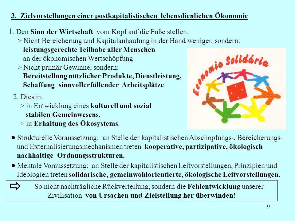 3. Zielvorstellungen einer postkapitalistischen lebensdienlichen Ökonomie