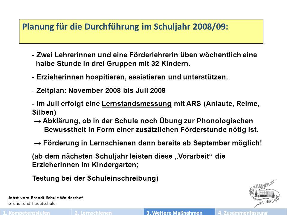 Planung für die Durchführung im Schuljahr 2008/09: