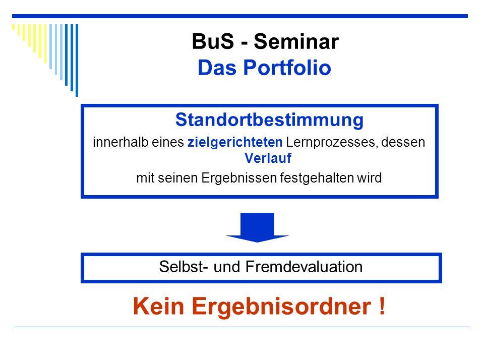 Kein Ergebnisordner ! BuS - Seminar Das Portfolio Standortbestimmung