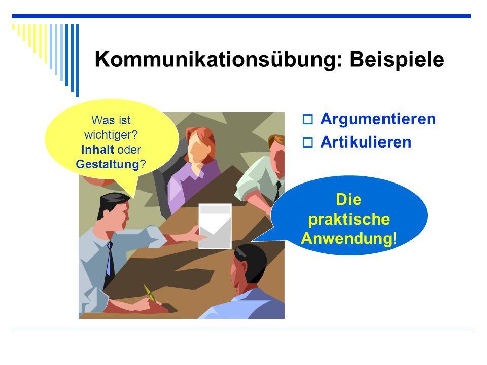 Kommunikationsübung: Beispiele