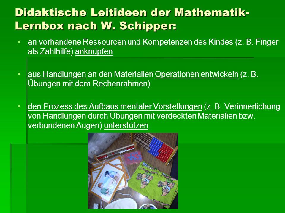 Didaktische Leitideen der Mathematik-Lernbox nach W. Schipper: