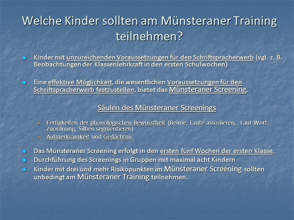 Welche Kinder sollten am Münsteraner Training teilnehmen