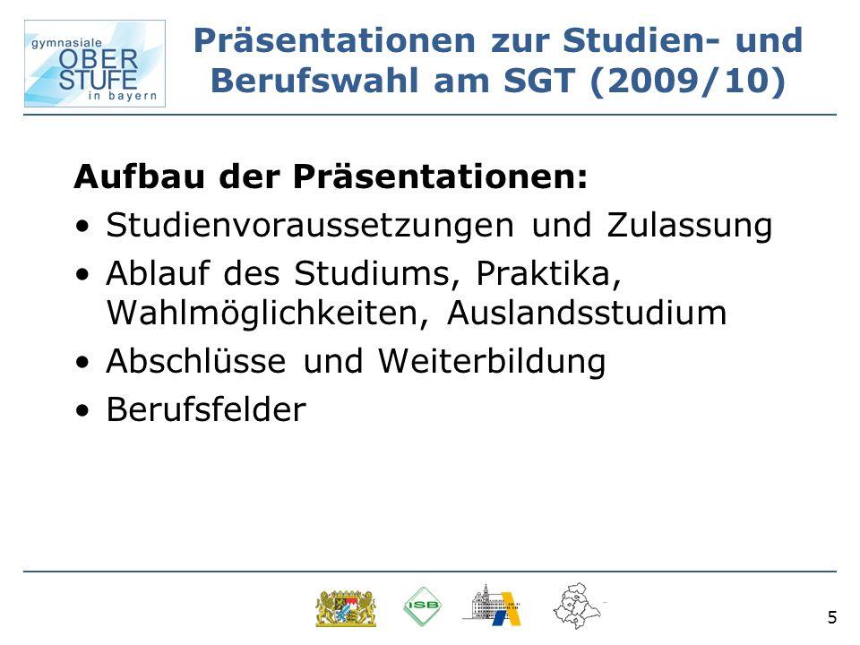 Präsentationen zur Studien- und Berufswahl am SGT (2009/10)