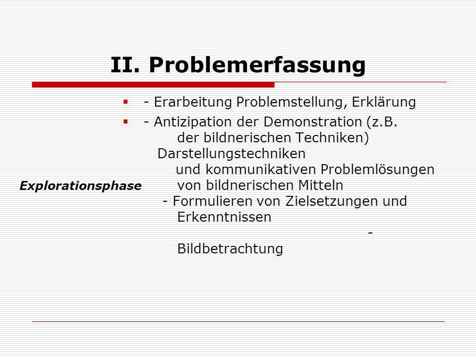 II. Problemerfassung - Erarbeitung Problemstellung, Erklärung