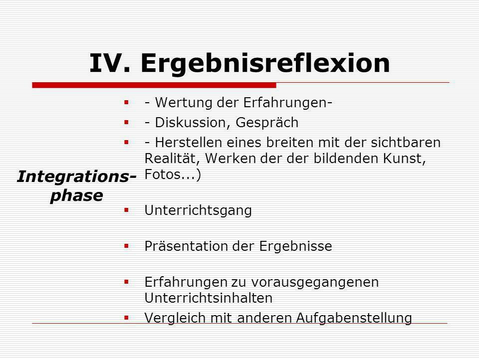 IV. Ergebnisreflexion Integrations- phase - Wertung der Erfahrungen-