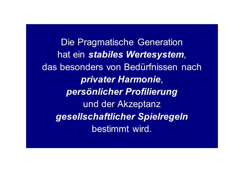 Die Pragmatische Generation hat ein stabiles Wertesystem, das besonders von Bedürfnissen nach privater Harmonie, persönlicher Profilierung und der Akzeptanz gesellschaftlicher Spielregeln bestimmt wird.