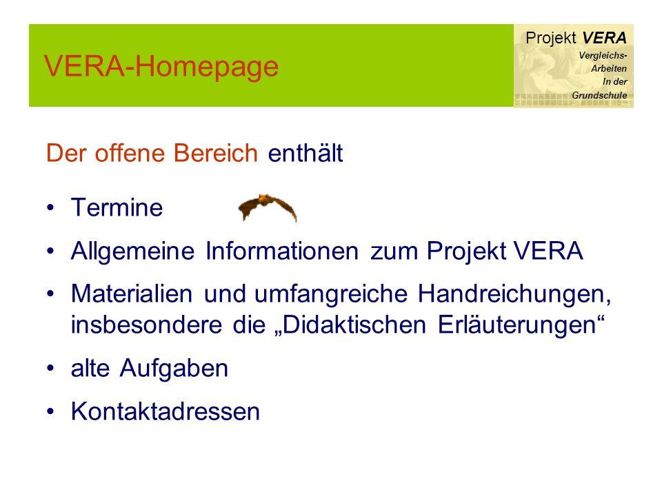 VERA-Homepage Der offene Bereich enthält Termine