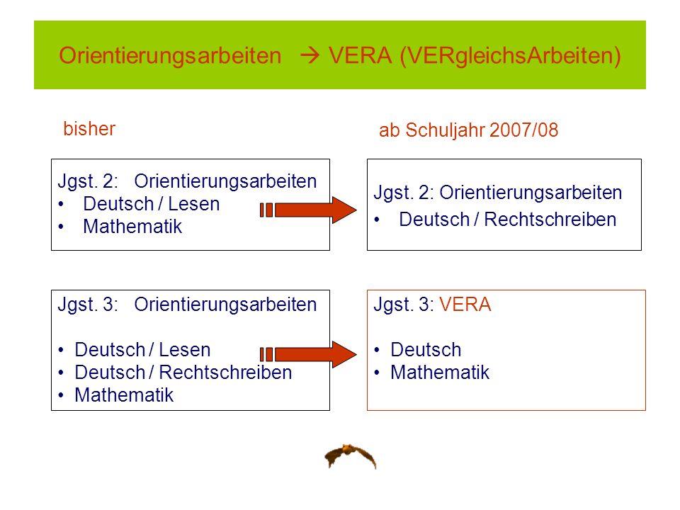 Orientierungsarbeiten  VERA (VERgleichsArbeiten)