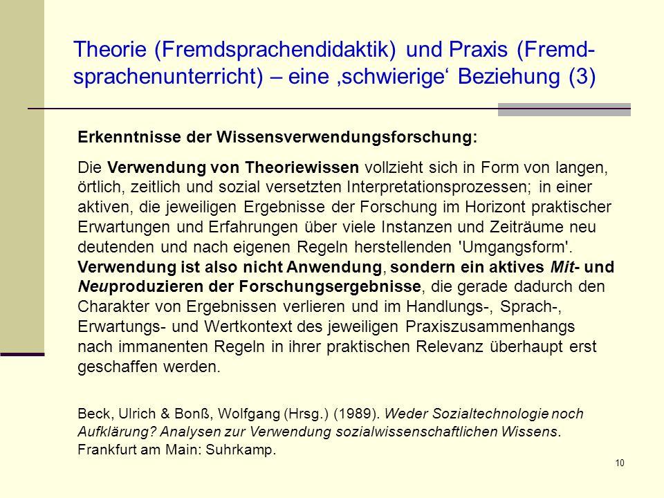 Theorie (Fremdsprachendidaktik) und Praxis (Fremd-sprachenunterricht) – eine 'schwierige' Beziehung (3)