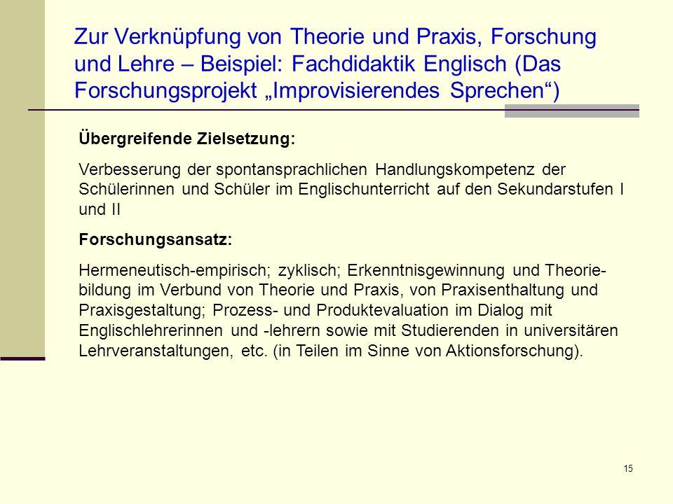 """Zur Verknüpfung von Theorie und Praxis, Forschung und Lehre – Beispiel: Fachdidaktik Englisch (Das Forschungsprojekt """"Improvisierendes Sprechen )"""