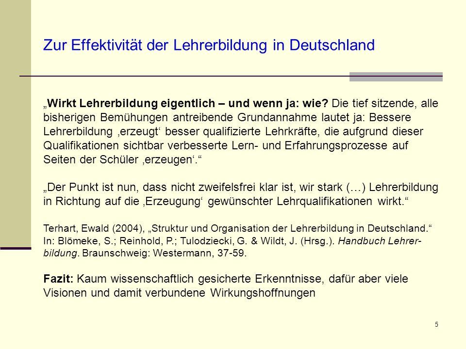 Zur Effektivität der Lehrerbildung in Deutschland