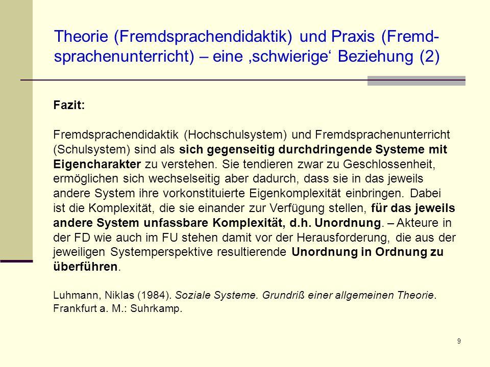 Theorie (Fremdsprachendidaktik) und Praxis (Fremd-sprachenunterricht) – eine 'schwierige' Beziehung (2)