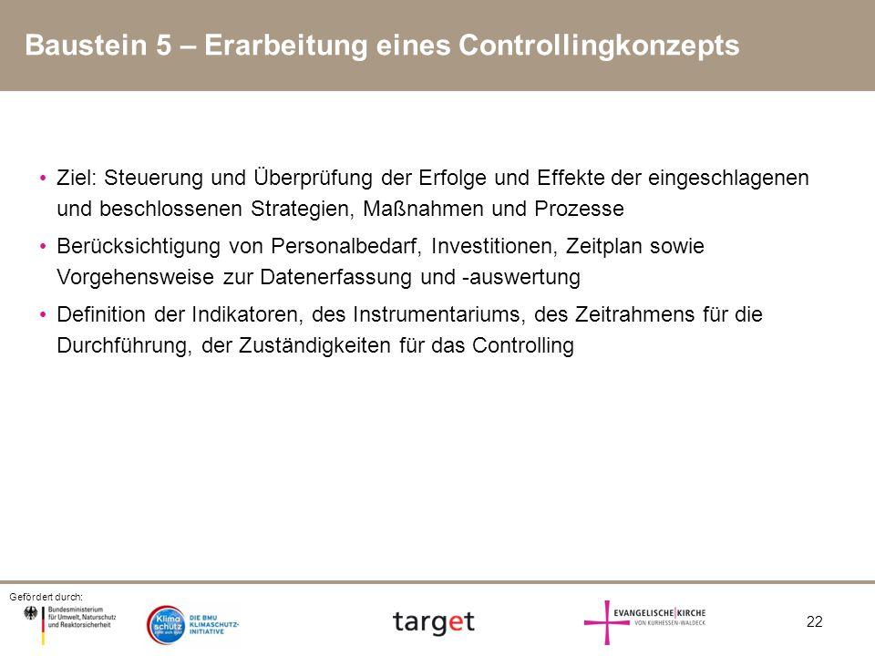 Baustein 5 – Erarbeitung eines Controllingkonzepts