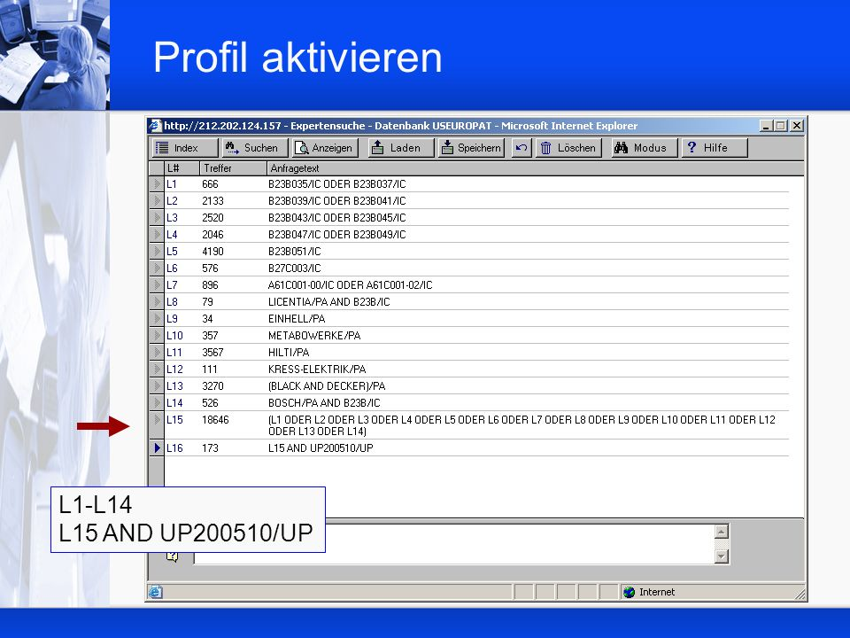 Profil aktivieren L1-L14 L15 AND UP200510/UP