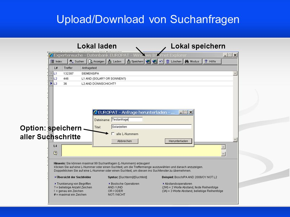 Upload/Download von Suchanfragen