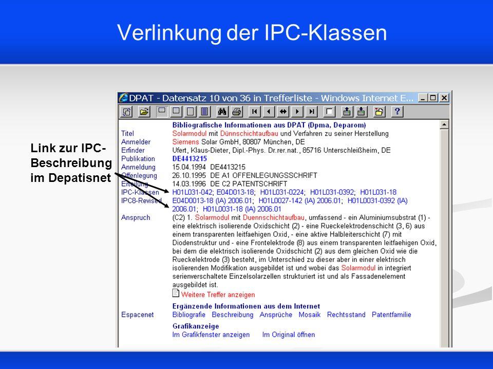Verlinkung der IPC-Klassen