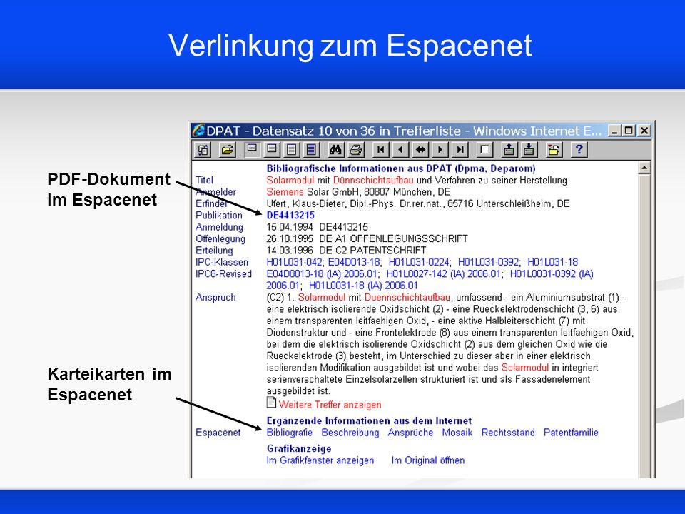 Verlinkung zum Espacenet