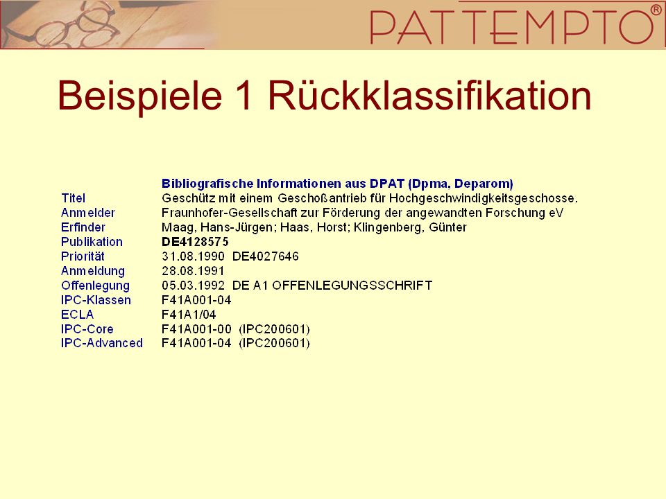 Beispiele 1 Rückklassifikation