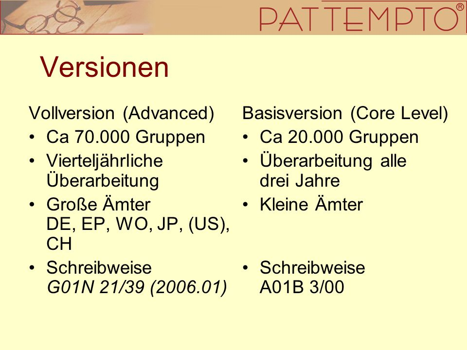 Versionen Vollversion (Advanced) Ca 70.000 Gruppen