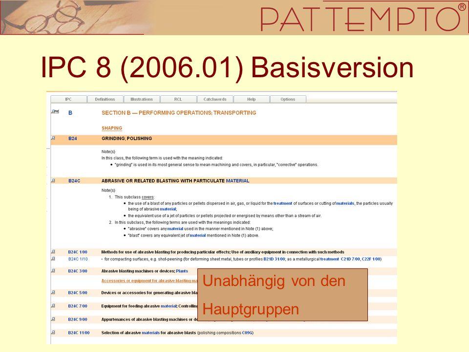 IPC 8 (2006.01) Basisversion Unabhängig von den Hauptgruppen