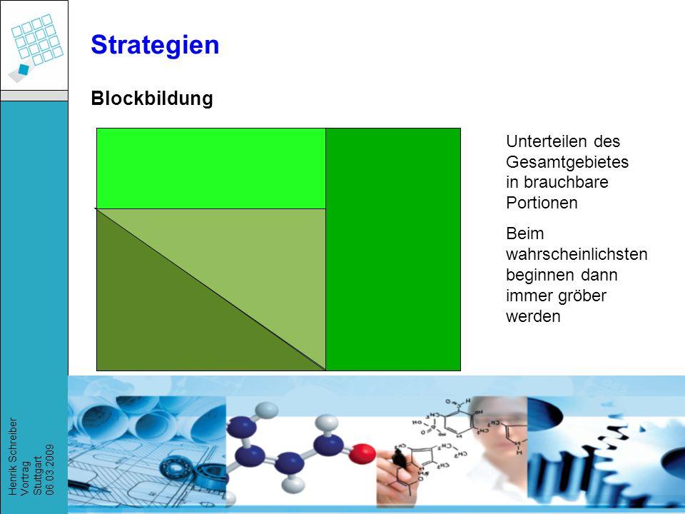Strategien Blockbildung Unterteilen des Gesamtgebietes in brauchbare