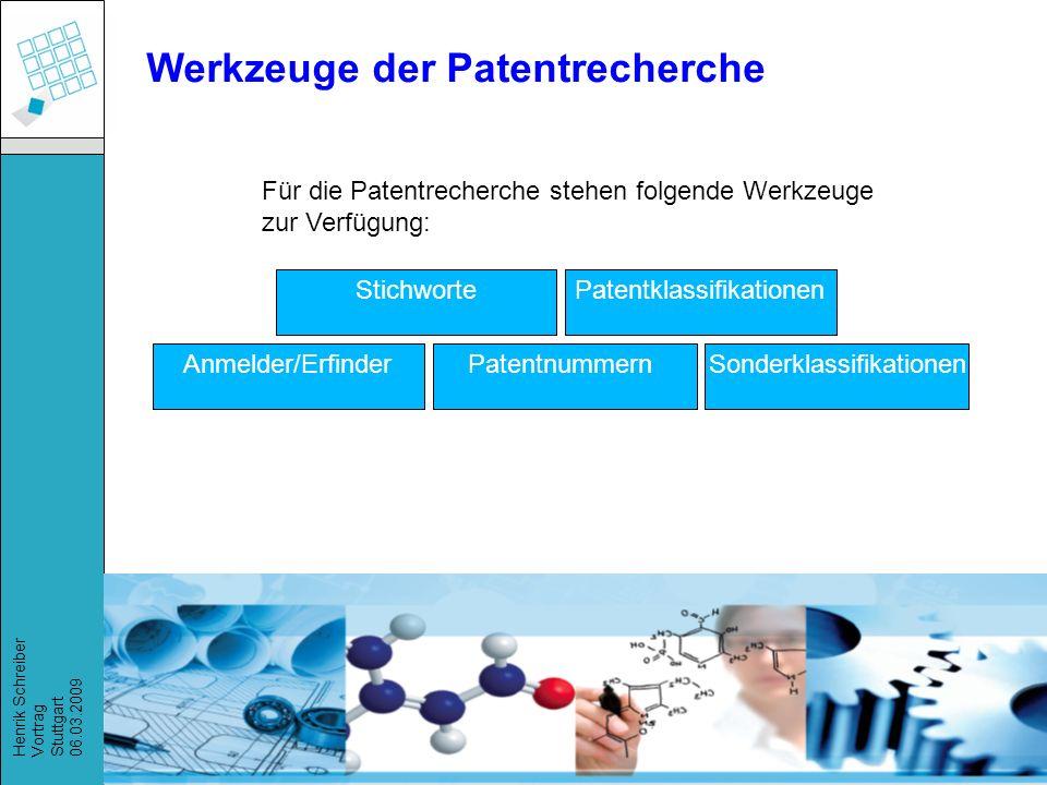 Werkzeuge der Patentrecherche