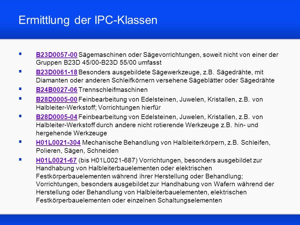 Ermittlung der IPC-Klassen