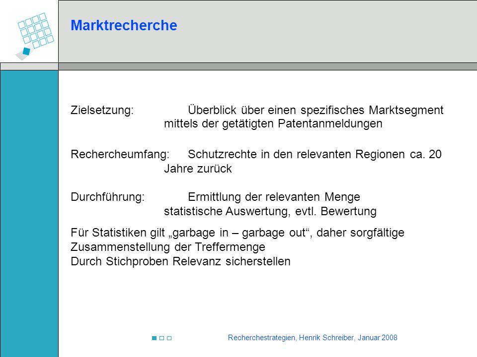Marktrecherche Zielsetzung: Überblick über einen spezifisches Marktsegment mittels der getätigten Patentanmeldungen.